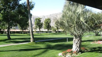 This is our backyard with beautiful views of mountains and golf course.
