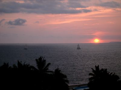 Beautiful sunsets can be seen every night from the living room balcony