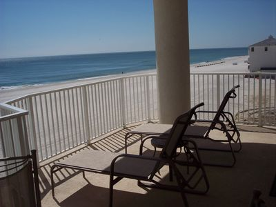 300sq.ft. Balcony Overlooks our White Sand Beach. Starting to Relax Already.