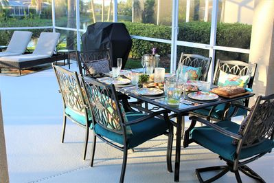 Our guests love our outdoor space with grill, seating and lake or pool views.