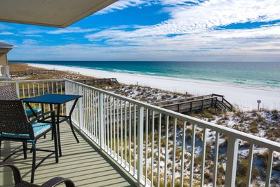 Amazing unobstructed views of the Gulf of Mexico from the master bedroom.