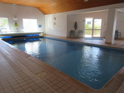 The indoor heated communal swimming pool.