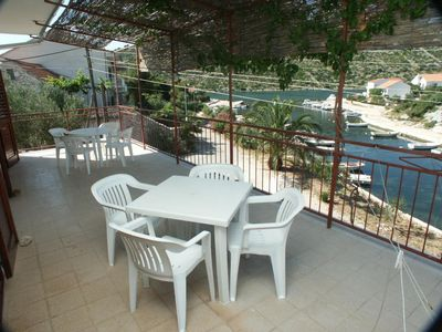 Photo for Two bedroom apartment with terrace and sea view Stupin ÄŒeline, Rogoznica (A-2096-b)
