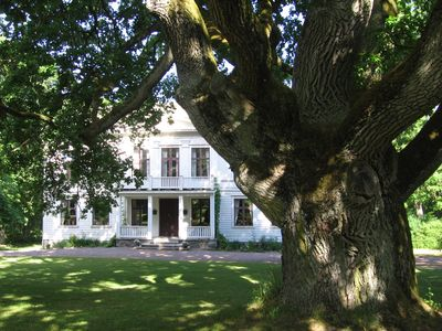 The main building with the 400 year old oaktree in front