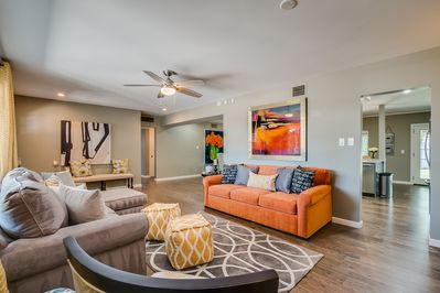 Spacious living room with Queen sized Sofa Bed