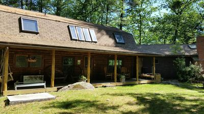 Photo for Beautiful  Log Cabin Overlooking Blaisdell  Lake! Sleeps 12, Private Beach