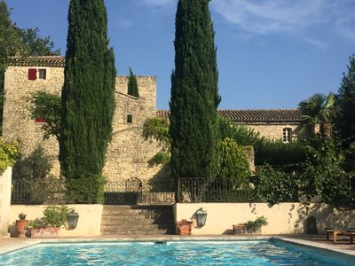 Photo for Stunning provençal Mas near Uzès with gorgeous stone courtyard & swimming pool