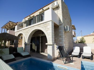 Photo for 2 bedroom Villa, sleeps 5 in Stalos with Pool, Air Con and WiFi