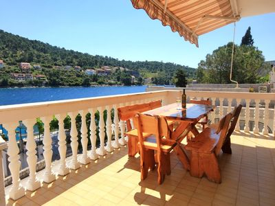 Photo for Four bedroom apartment with terrace and sea view Brna, Korčula (A-10057-a)