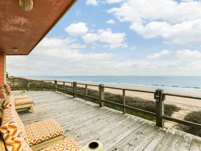 Photo for Oceanfront home w/fireplace, large deck, private balcony, dogs ok-on the beach!