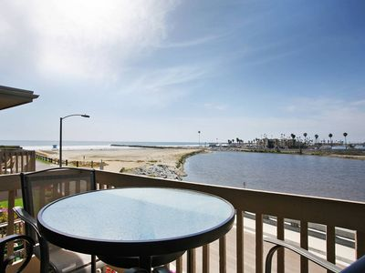 Photo for Beachfront End-unit Cottage with 180 views of ocean, river, harbor, & mountains
