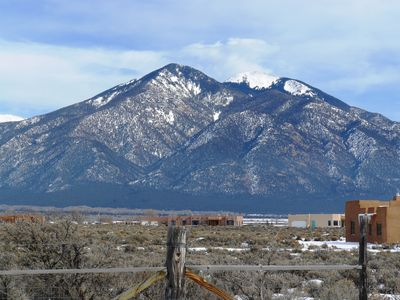 View of the Taos mountain from our great room.