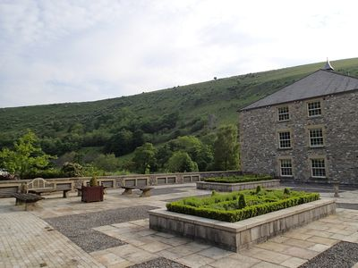 Monsal Dale from some of the shared landscaped gardens within The Mill complex