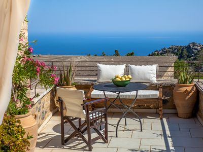 Photo for PERSEPHONE ART HOUSE ,  courtyard and terraces with infinitive Med sea views