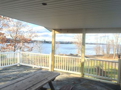 Looking towards lake from porch & deck