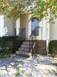 Front porch with new railings