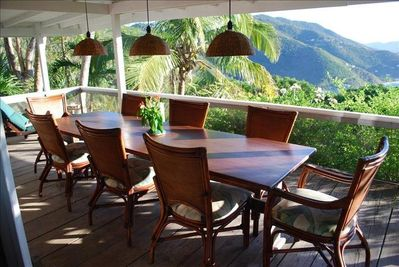 Outdoor dining room.  Sage Mountain view.
