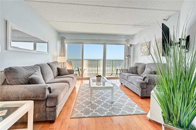 Welcome to Jacksonville Beachdrifter 406! - You'll swoon over the ocean front views right from this bright and airy living room!