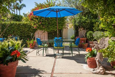 Enclosed & private backyard is perfect for meals al fresco & watching the sunset