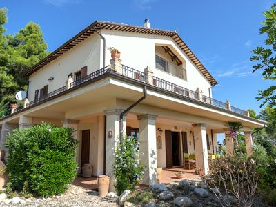 Photo for Luxurious Hilltop Villa, swimming pool, glorious panoramic views and olive grove