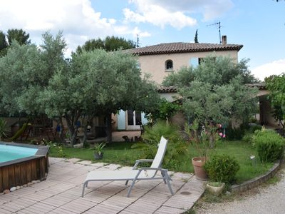 Photo for the enclosed olive trees, quiet, sunny villa, pool, boulodrom