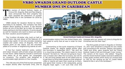 Grand Outlook Castle was Awarded the #1 Guest Rated Villa for 2018 & is in 2019!