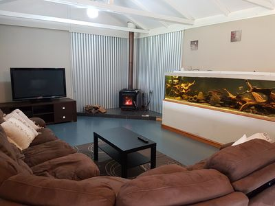 Fireplace in the living room to keep you warm through the cooler months