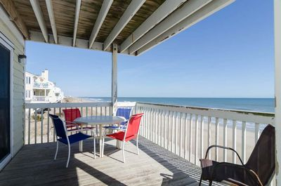 Oceanfront deck area accessible from both the master bedroom and living area.