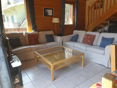 Photo for Lovely comfortable apartment near the centre of Morzine with big balcony.