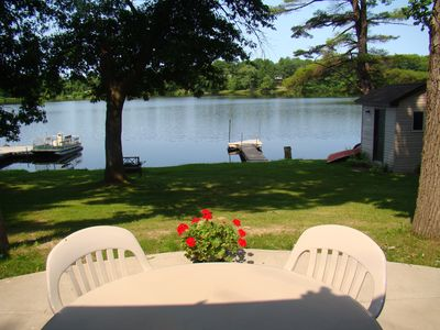 The view of the lake from the patio.