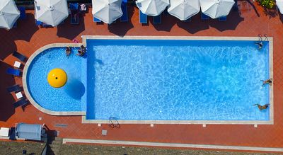 Air view of the swimming pool