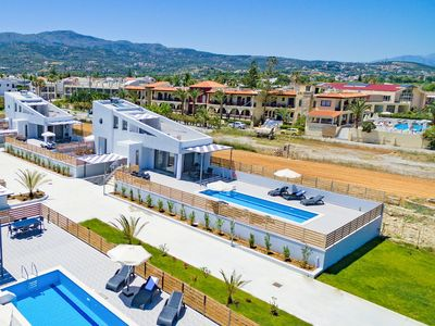 Photo for New beachfront villa in Rethymno next to amenities, No car needed Blue Oyster 2