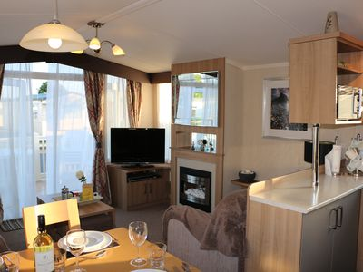 Photo for Caravan Pat, 2 bed, sleeps 6. located a 5mins from a beach, on Hoburne Naish