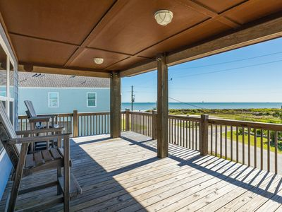 Photo for Gulf view home w/ wrap-around deck - one block to the beach, 2 dogs welcome!