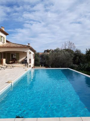 Photo for beautiful apartment on the ground floor of villa with infinity pool