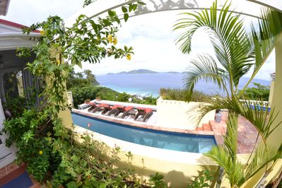 Flowering plants abound, a beautiful pool, sumptuous Lounges