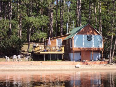 Photo for Peaceful Log Cabin with Beach SW Exposure WIFI & Cable TV & Firepit