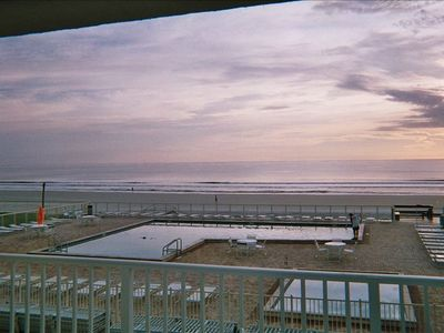 View From The Balcony of the Ocean & Patio At Sunrise