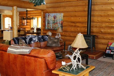 You can cozy up in the living area with a gas fireplace.