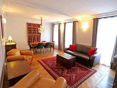 Photo for Large and comfortable family apartment steps from Place Monge food market
