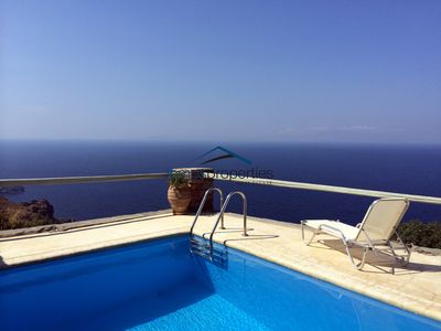 Photo for Sunny stone villa with a swimming pool and a panoramic sea view