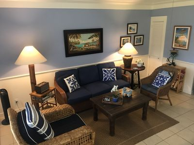 Photo for Charming Blue & White Beach Bungalow! Great Location and 200  yards from Ocean