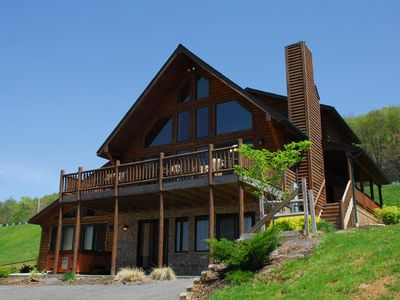 Photo for Gorgeous Log Home With Private Indoor Pool and Dock Slip