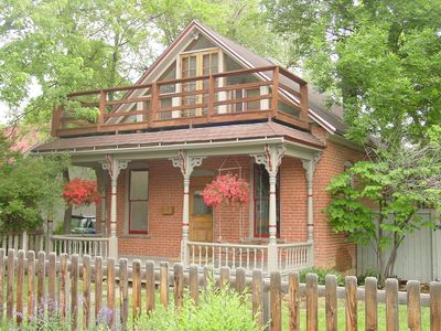 Front porch and deck above