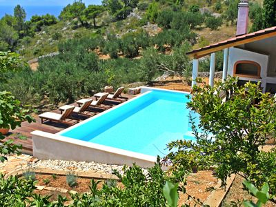 Photo for Eco-friendly spectacular sea view villa with pool,  playground, U-pick garden...