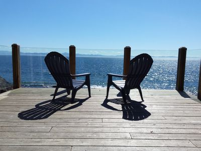 Private lower deck with view of Juan de Fuca Strait and the Olympic Peninsula