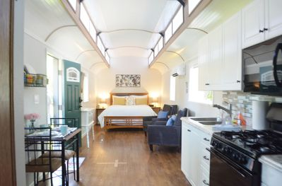 Roomy tiny home with everything you need to make a home away from home.