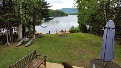 view of lake from the front deck