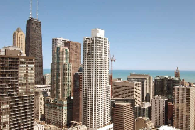 Balcony View Of The City Of Chicago Looking Northeast At The John Hancock  Building