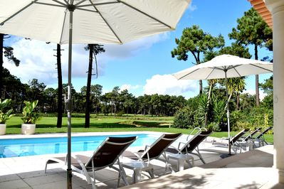 Fabulous fairway and lake views from outside sunbathing area